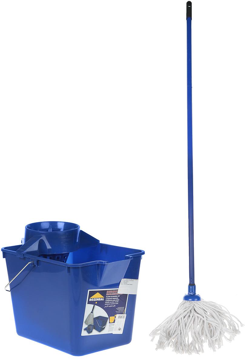 Комплект для уборки пола Rozenbal, цвет: синий, 12 л. R211614R211614Комплект для уборки пола Rozenbal включает в себя ведро с отжимом дляшвабры, а так жеудобную швабру для мыть пола.Ведро изготовлено из крепкого утолщенногопластика иснабжено широкой отжимной воронкой. Идеально подходит для отжимахлопковых швабр. Длянаиболее эффективного отжима швабру нужно вставлять в отжим слегка вращая. На дневедра есть выемка для руки, благодаря которой воду легко выливать. Особенности: Высота швабры: 125 см. Размеры ведра: 36 х 25 х 25 см.