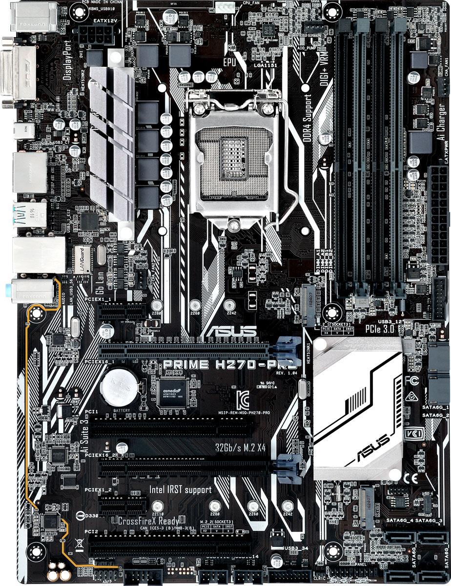 ASUS Prime H270-Pro материнская платаPRIME H270-PROASUS Prime H270-PRO - инновационная ATX-плата для платформы Intel LGA 1151 со светодиодной подсветкой,поддержкой памяти DDR4 2400 МГц и накопителей Intel Optane, двумя разъемами M.2, портами HDMI, SATA 6Гбит/с и USB 3.1.В материнской плате ASUS Prime H270-PRO реализован комплекс технологий 5X Protection III, которыйгарантирует использование лучших компонентов и схемных решений, а также соответствие современнымстандартам для обеспечения непревзойденной надежности и длительного срока службы системы. SafeSlot Core - это разработанная ASUS конструкция слотов PCIe, которая отмечается улучшенной прочностьюи обеспечивает усиленный зажим видеокарты.Материнская плата ASUS Prime H270-PRO имеет усиленные точки пайки вокруг контактов разъемов PCIe иDIMM.Использование современных технологий и конденсаторов премиум-класса позволило увеличить пропускнуюспособность сетевого интерфейса. В то же время, для защиты цепей LAN от перенапряжения, вызываемогостатическим электричеством, применяются защитные цепи.В системе питания данной материнской платы используются стабилизаторы, обеспечивающие защиту отперепадов напряжения, которые могут возникнуть при использовании блоков питания не самого высокогокачества. DDR4 - новый тип системной памяти, которая работает на высокой частоте (до 2400 МГц). Специалисты ASUSработают в тесном контакте с производителями модулей DDR4, чтобы обеспечить максимальнуюсовместимость компонентов.Чтобы увеличить работу пользовательской памяти до беспрецедентных значений, можно объединить парутвердотельных накопителей с интерфейсом PCIe в массив RAID0.Сделайте дизайн вашего компьютера незабываемым с помощью оригинальных световых эффектов.За счет использования высококачественных компонентов и продуманной конструкции аудиоподсистема платыможет похвастать отличным качеством звучания. Для повышения качества аудиосигнала левый и правыйканалы расположены на разных слоях печатной платы.Материнская плата ASUS Prime H270M-P