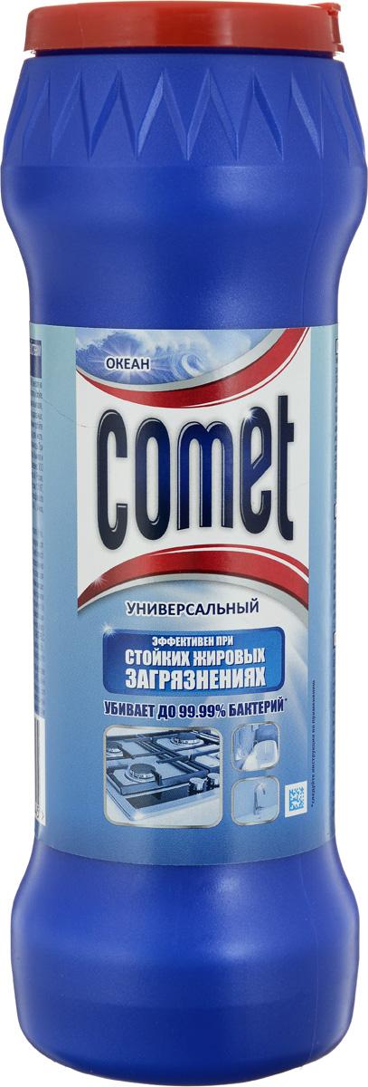 """Чистящий порошок Comet """"Двойной эффект"""" глубоко очищает поверхности, удаляет повседневные загрязнения и обычный жир во всем доме. Comet """"Двойной эффект"""" является 100% экспертом в дезинфекции благодаря формуле с хлоринолом. Удаляет 99,9% микробов. Обладает приятным ароматом океана.       Характеристики:    Вес: 475 г. Производитель:  Россия.   Товар сертифицирован.    Как выбрать качественную бытовую химию, безопасную для природы и людей. Статья OZON Гид"""