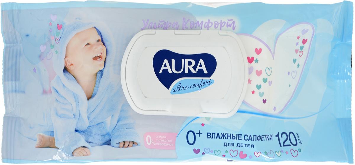 Aura Влажные салфетки для детей Ultra Comfort с экстрактом алоэ и витамином Е, 120 шт