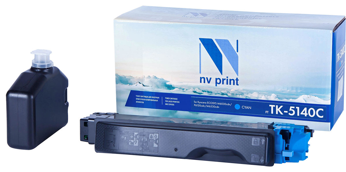NV Print TK5140, Cyan тонер-картридж для Kyocera ECOSYS M6030cdn/P6130cdn/M6530cdnNV-TK5140CСовместимый лазерный картридж NV Print TK5140 для печатающих устройств Kyocera - это альтернативаприобретению оригинальных расходных материалов. При этом качество печати остается высоким. Картриджобеспечивает повышенную чёткость текста и плавность переходов оттенков цвета и полутонов,позволяет отображать мельчайшие детали изображения.Лазерные принтеры, копировальные аппараты и МФУ являются более выгодными в печати, чем струйныеустройства, так как лазерных картриджей хватает на значительно большее количество отпечатков, чем обычных.Для печати в данном случае используются не чернила, а тонер.