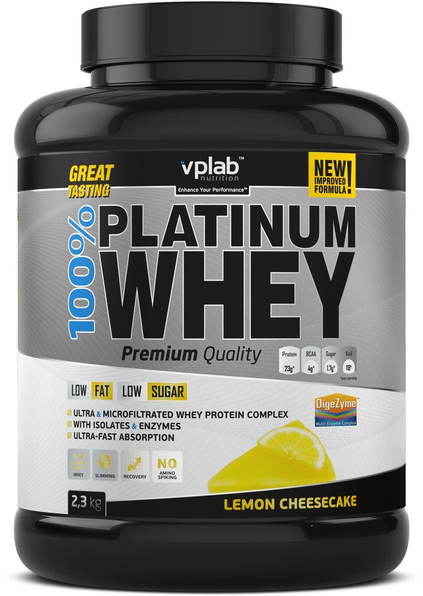 Протеин сывороточный Vplab Platinum Whey, лимонный чизкейк, 2,3 кг протеин сывороточный vplab platinum whey малина в шоколаде 2 3 кг