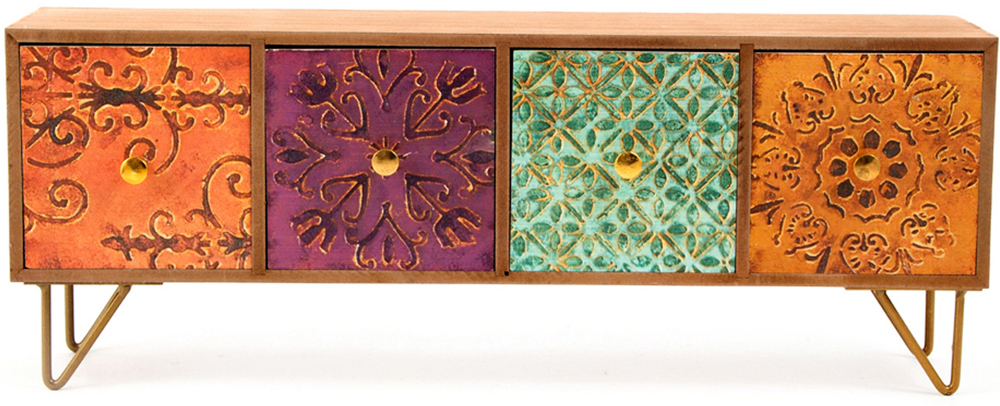 Шкатулка для хранения, цвет: мультиколор, 43 х 10 х 16 см. 38607 шкатулка для ювелирных украшений moretto 18 х 13 х 5 см 139524