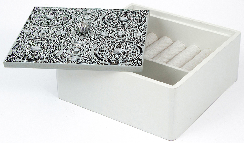 Шкатулка для хранения, цвет: серый, 22 х 15 х 6 см. 38611 шкатулка для украшений jardin d ete цвет бело золотой 30 х 20 х 22 5 см