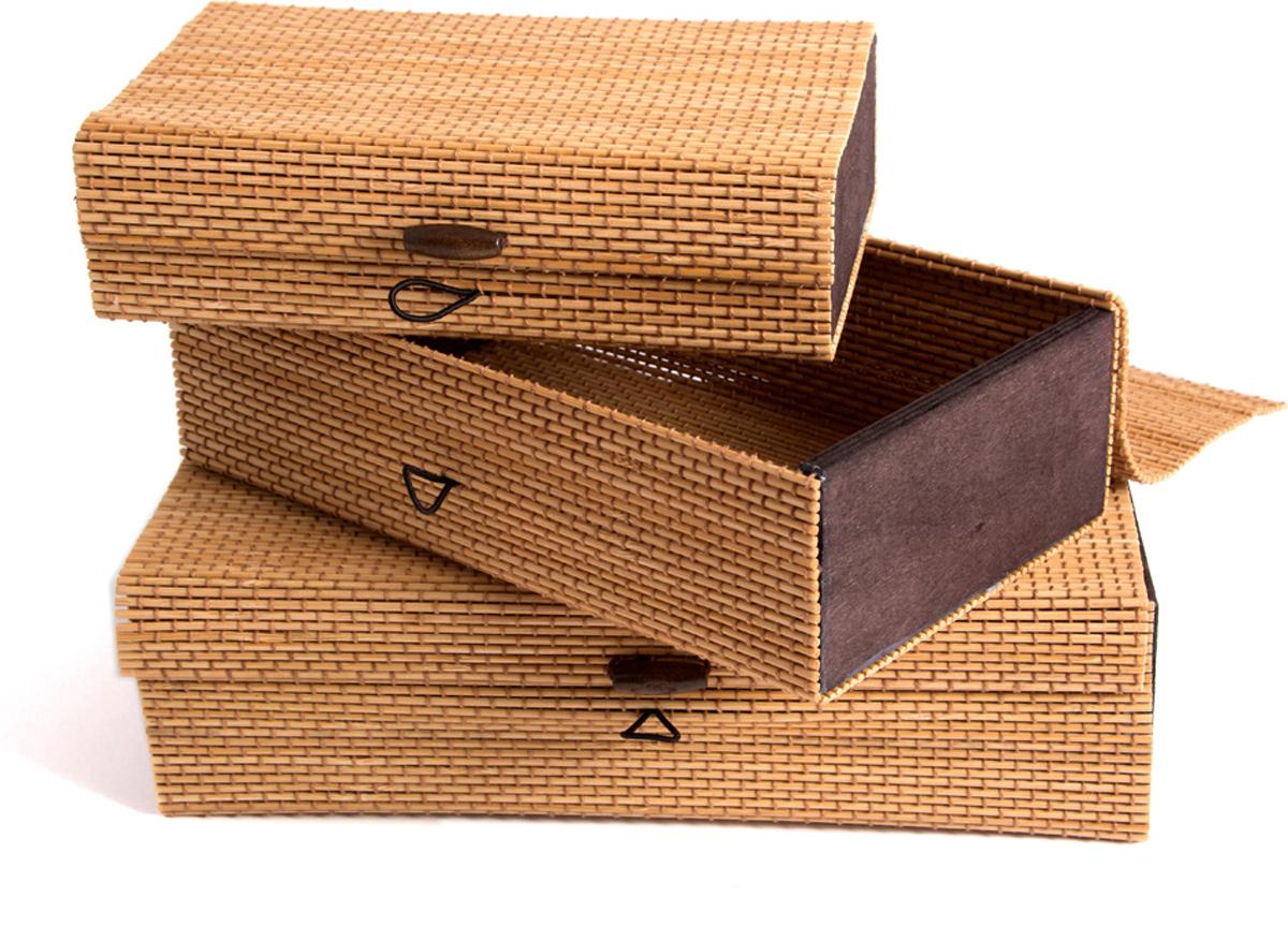 Набор шкатулок для хранения, цвет: бежевый, 25 х 14 х 7 см, 3 шт