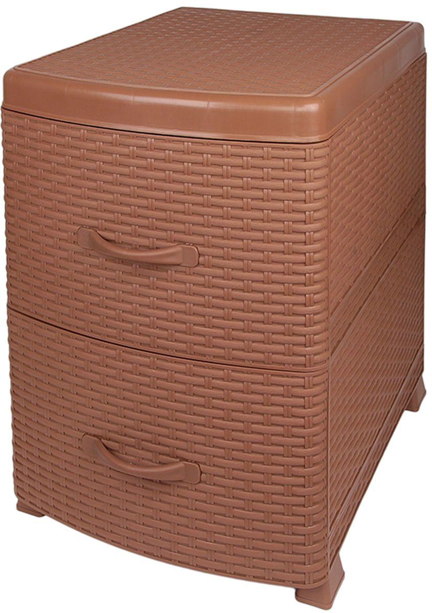 """Тумба Violet """"Ротанг"""" - универсальный комод с 2 выдвижными ящиками. Выполнен из экологически чистого пластика. Идеально подходит для хранения игрушек и других хозяйственных предметов. Достаточно вместительный, но в то же время компактный. Можно сократить количество ярусов по желанию. Поставляется в разобранном виде."""