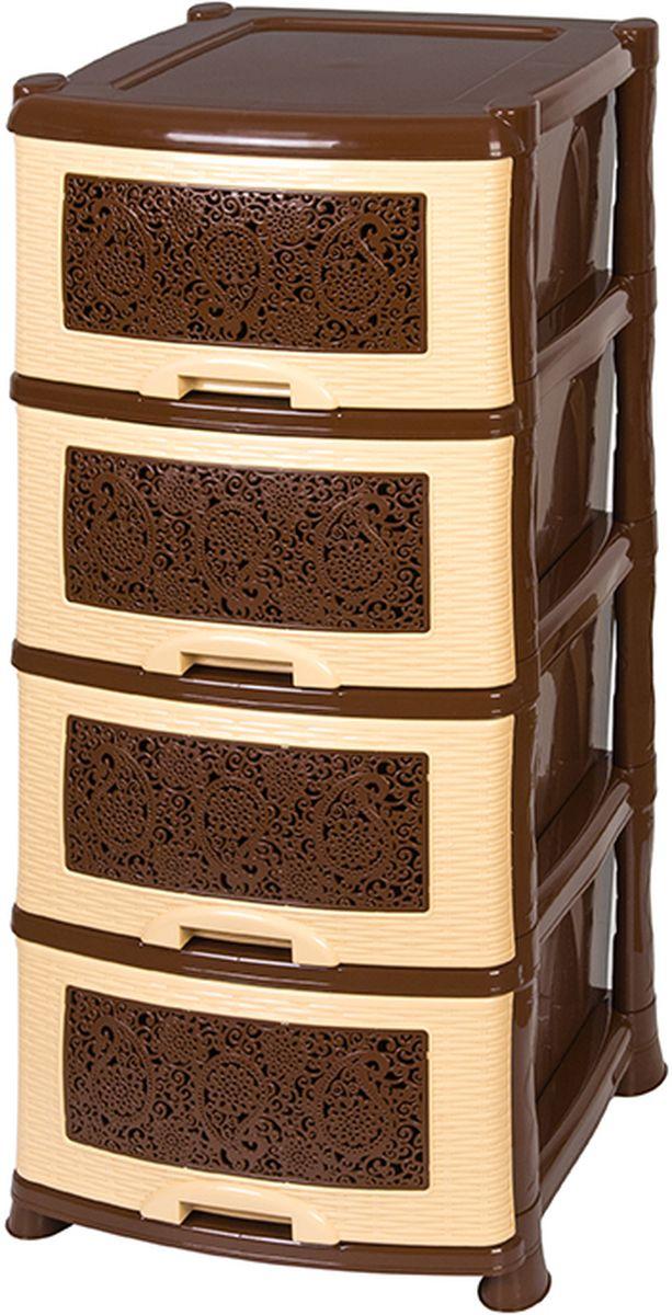 Комод Violet Ажур, четырехсекционный, цвет: бежевый, коричневый, 40 х 46 х 94 см811190Универсальный комод с 4 выдвижными ящиками. Выполнен из экологически чистого пластика. Идеально подходит для хранения игрушек и других хозяйственных предметов. Достаточно вместительный, но в то же время компактный. Можно сократить количество ярусов по желанию. Поставляется в разобранном виде.
