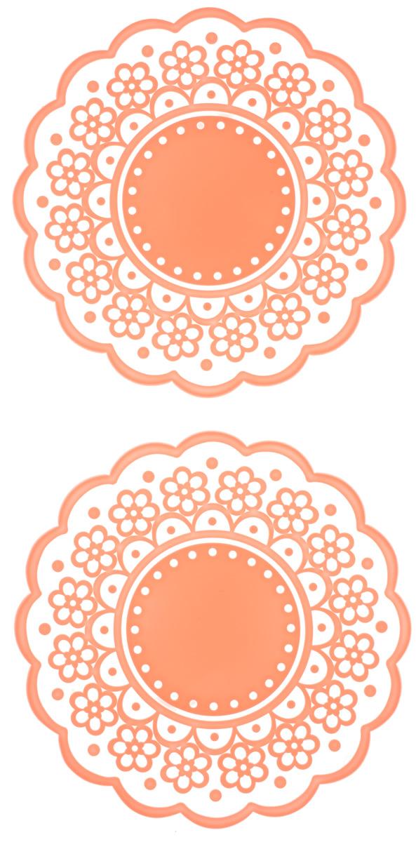 Набор подставок под горячее Доляна Авангард, цвет: коралловый, диаметр 12 см, 2 шт812073_коралловыйСиликоновая подставка под горячее - практичный предмет, который обязательнопригодится в хозяйстве. Изделие поможет сберечь столы, тумбы, скатерти иклеёнки от повреждения нагретыми сковородами, кастрюлями, чайниками итарелками.