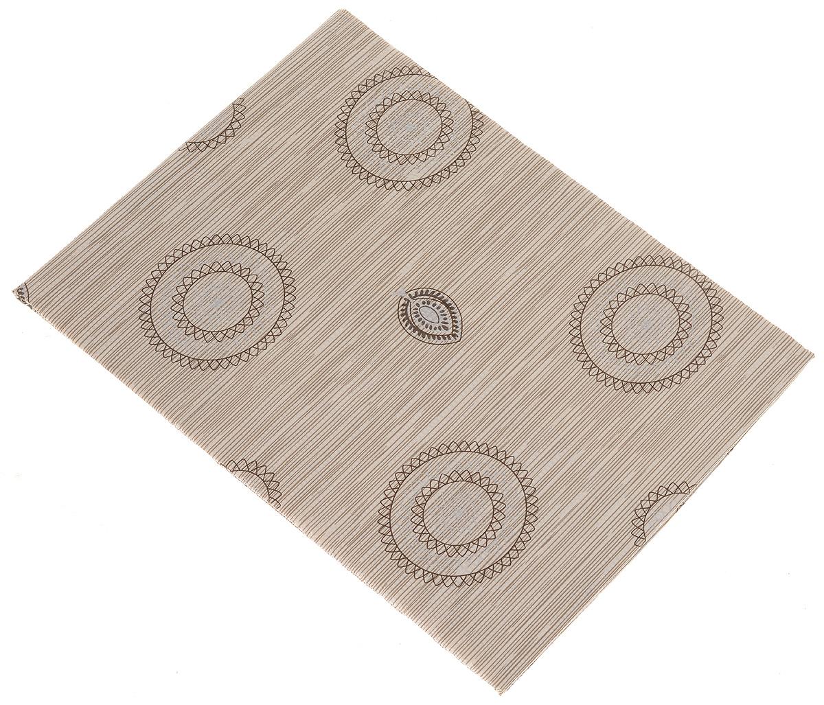 Скатерть изготовлена по новейшей технологии: выполнена из ПВХ с текстурной  поверхностью и печатным рисунком, основание скатерти - противоскользящая  ПВХ-сетка. Скатерть легкая, но в тоже время она не скользит на гладкой  поверхности стола. Дизайн в приятных тонах в сочетании с ажурной каймой по  краю позволяют изделию стать дополнением любого интерьера. Толщина  изделия 0,07 мм, плотность основы 130 гр/м2.Скатерть устойчива к  загрязнениям и влаге, легко моется и быстро сохнет. Рекомендации по  уходу: рекомендуется мыть с лицевой стороны с применением мягких моющих средств,  не гладить, не стирать, не подвергать химической чистке, не использовать хлоросодержащие отбеливатели, не чистить абразивными материалами.