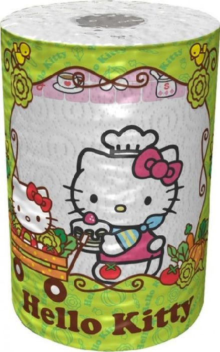 Полотенца бумажные World Cart Hello Kitty, трехслойные полотенца бумажные world cart angry birds двухслойные 2 рулона