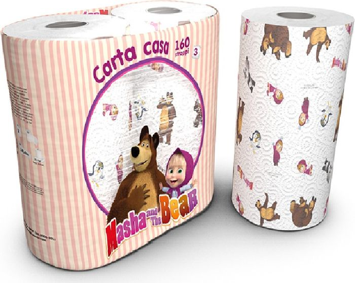 Полотенца бумажные World Cart Маша и Медведь, трехслойные, 2 рулона полотенца бумажные world cart angry birds двухслойные 2 рулона