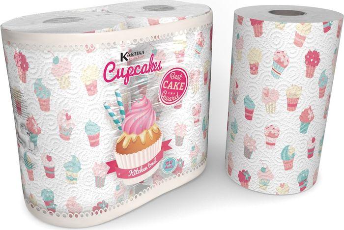 Полотенца бумажные World Cart Kartika Collection. Cupcakes, двухслойные, 2 рулонаKCKT1Полотенца кухонные из серии Kartika с милыми пирожными украсят любую кухню. Полотенца 2-х слойные с рисунком, в упаковке 75 листов, 23х22,8 см.
