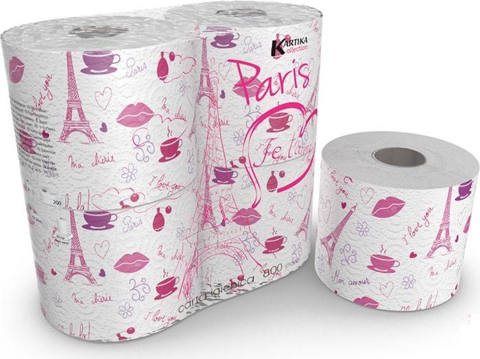 Туалетная бумага из серии Kartika с городской тематикой - рисунки Эйфелевой башни, поцелуев и парфюма. Почувствуй таинство и страсть Парижа.