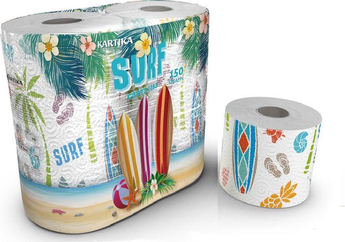 Туалетная бумага из серии Kartika с пляжной тематикой Surf - рисунки ракушек, летних тапочек, купальников и анансов. Почувствуй запах лета и незабываемых приключений. Бумага 3-х слойная, в упаковке 4 рулона по 200 листов. Размер листа 12х9,7 см. Длина рулона 24 м. Вес рулона 105 г.