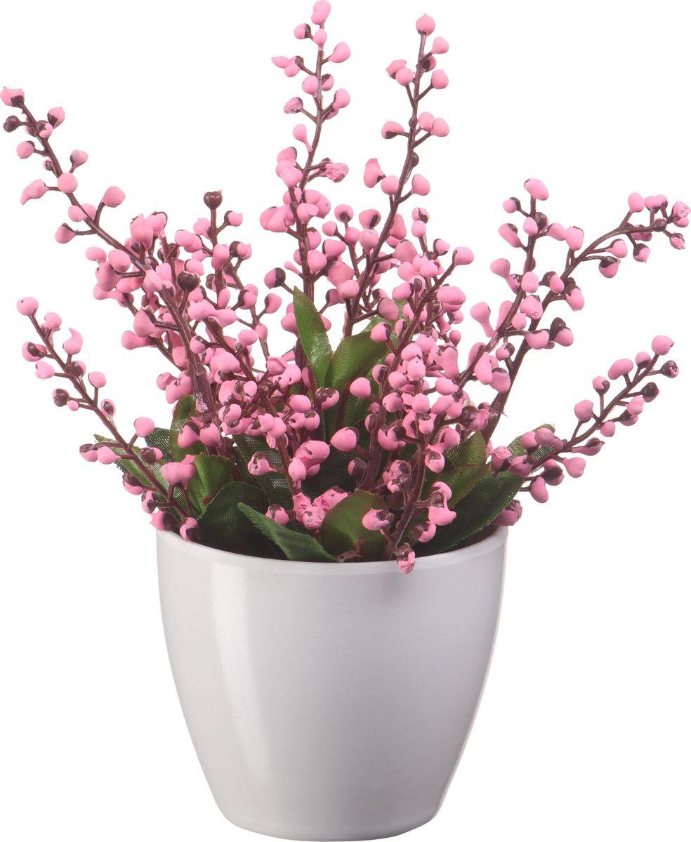 Композиция цветочная Engard Ландыш, в кашпо, цвет: розовый, 18 х 18 х 19 см кашпо engard цвет желтый 12 5 х 10 х 13 см