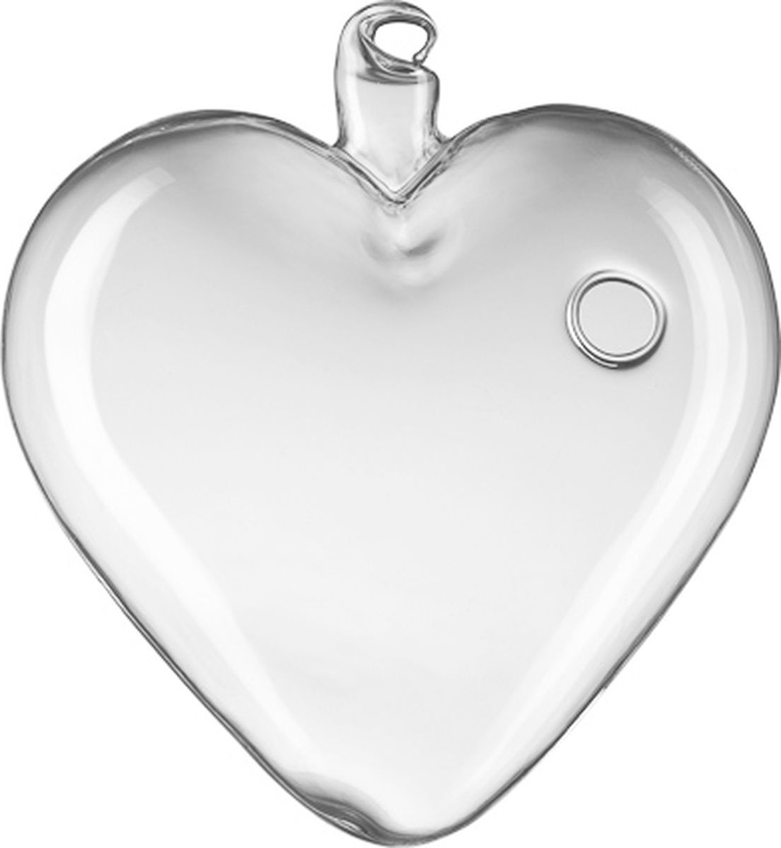 Декоративная подвесная ваза в виде сердца диаметром 10 см, выполненная из стекла. Станет прекрасным украшением для фотосессий, свадеб, сервировки.