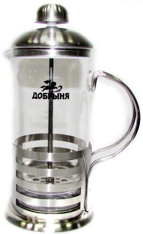 Френч-пресс Добрыня, 350 мл. DO-2801-2DO-2801-2Френч-пресс Добрыня, изготовленный из жаропрочного боросиликатного стекла и нержавеющей стали, это совершенный чайник для приготовления кофе или чая методом настаивания и отжима. Изделие с плотной крышкой и удобной ручкой имеет специальный поршень с фильтром из нержавеющей стали для отделения чайных листьев от воды. После заваривания чая фильтр не надо вынимать. Заваривание чая - это приятное и легкое занятие. Можно мыть в посудомоечной машине.