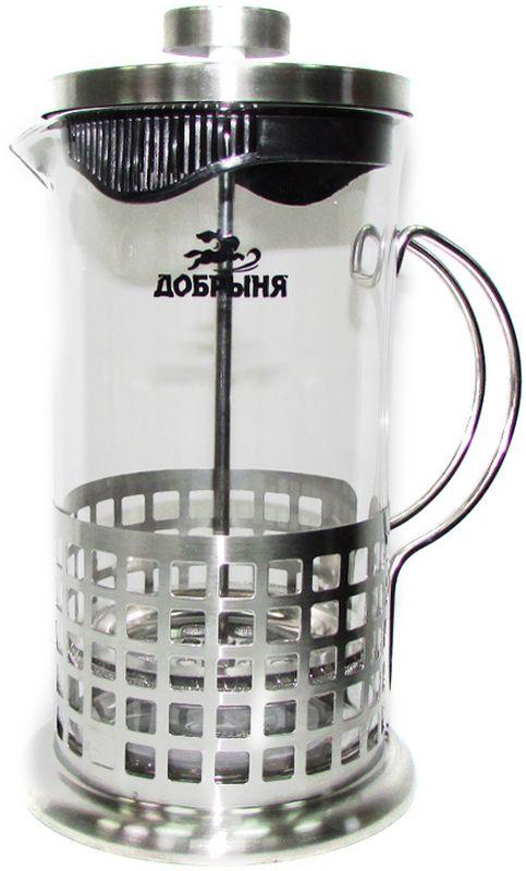Френч-пресс Добрыня, 600 мл. DO-2802-1DO-2802-1Френч-пресс Добрыня, изготовленный из жаропрочного боросиликатного стекла и нержавеющей стали, это совершенный чайник для приготовления кофе или чая методом настаивания и отжима. Изделие с плотной крышкой и удобной ручкой имеет специальный поршень с фильтром из нержавеющей стали для отделения чайных листьев от воды. После заваривания чая фильтр не надо вынимать. Заваривание чая - это приятное и легкое занятие. Можно мыть в посудомоечной машине.