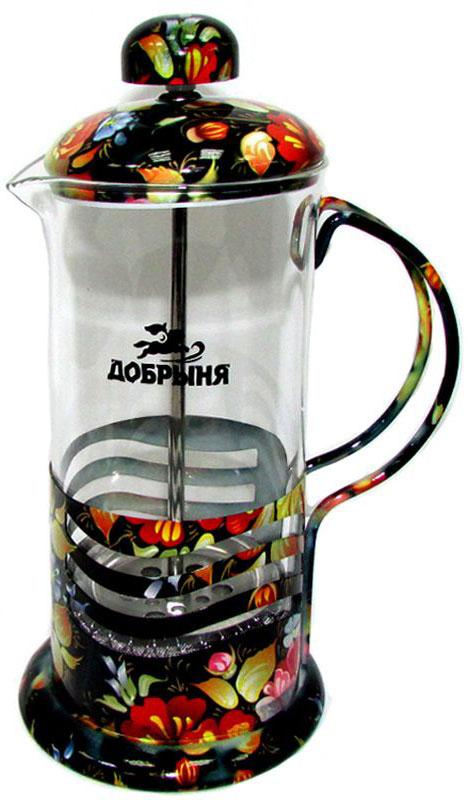 Френч-пресс Добрыня Жостовские узоры, 350 мл. DO-2805-1DO-2805-1Френч-пресс Добрыня, изготовленный из жаропрочного боросиликатного стекла и нержавеющей стали, это совершенный чайник для приготовления кофе или чая методом настаивания и отжима. Изделие с плотной крышкой и удобной ручкой имеет специальный поршень с фильтром из нержавеющей стали для отделения чайных листьев от воды. После заваривания чая фильтр не надо вынимать. Заваривание чая - это приятное и легкое занятие. Можно мыть в посудомоечной машине.