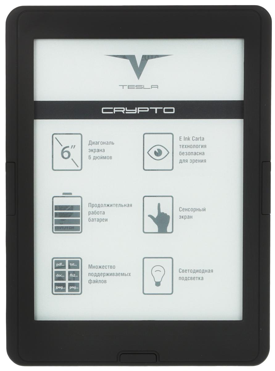 Tesla Crypto TFL6.0, Black электронная книгаGPB07538Электронная книга Tesla Crypto оснащена 6-дюймовым экраном, работающим по технологии E-Ink Pearl HD(электронные чернила), и светодиодной подсветкой, обеспечивающей комфортное чтение не только днем, но иночью. Одним из основных достоинств этой электронной книги является поддержка большого количестваформатов документов и изображений. На электронную книгу можно записать целую библиотеку: она оснащенасобственной встроенной памятью объемом 8 ГБ, а когда она исчерпается, можно использовать карту форматаmicroSD емкостью до 32 ГБ.