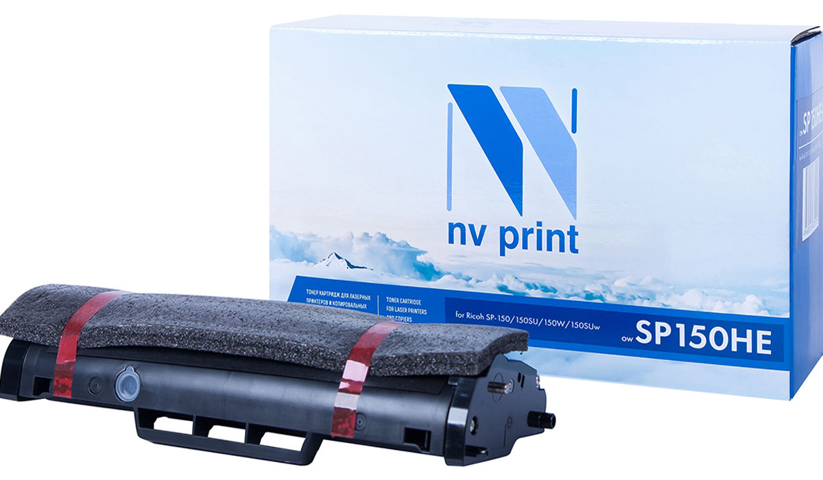 NV Print SP150HE, Black тонер-картридж для Ricoh SP-150/150SU/150W/150SUwNV-SP150HEСовместимый лазерный картридж NV Print SP150HE для печатающих устройств Ricoh - это альтернатива приобретению оригинальных расходных материалов. При этом качество печати остается высоким. Картридж обеспечивает повышенную чёткость текста и плавность переходов оттенков цвета и полутонов, позволяет отображать мельчайшие детали изображения.Лазерные принтеры, копировальные аппараты и МФУ являются более выгодными в печати, чем струйные устройства, так как лазерных картриджей хватает на значительно большее количество отпечатков, чем обычных. Для печати в данном случае используются не чернила, а тонер.