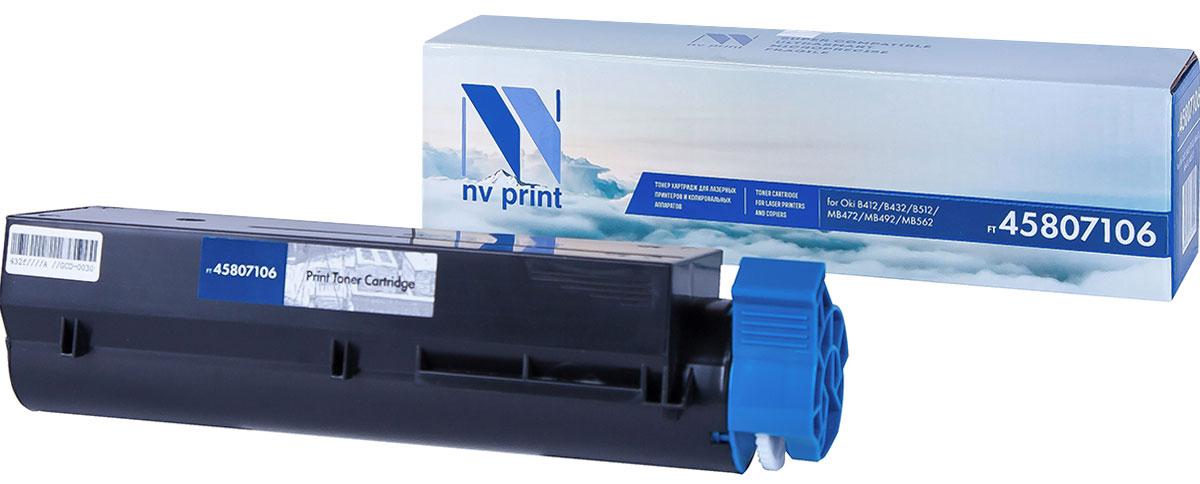 NV Print 45807106, Black тонер-картридж для Oki B412/B432/B512/MB472/MB492/MB562NV-45807106Совместимый лазерный картридж NV Print 45807106 для печатающих устройств OKI - это альтернативаприобретению оригинальных расходных материалов. При этом качество печати остается высоким. Картриджобеспечивает повышенную чёткость текста и плавность переходов оттенков цвета и полутонов,позволяет отображать мельчайшие детали изображения.Лазерные принтеры, копировальные аппараты и МФУ являются более выгодными в печати, чем струйныеустройства, так как лазерных картриджей хватает на значительно большее количество отпечатков, чем обычных.Для печати в данном случае используются не чернила, а тонер.