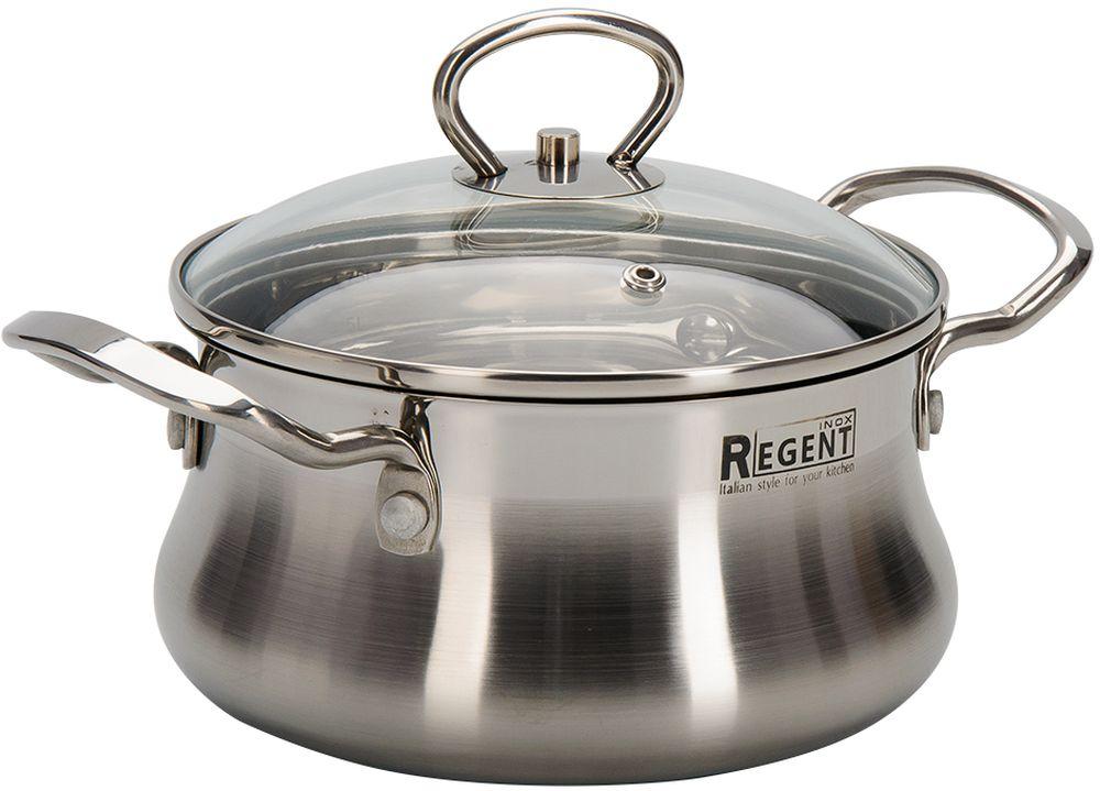 Кастрюля Regent Inox Bella с крышкой, 1,8 л93-BEv-02Посуда выполнена из высококачественной нержавеющей стали с многослойным капсулированным дном. Ручки крепятся методом клепки. Крышка из жароустойчивого стекла вплотную прилегает к изделию, максимально удерживая температуру, и помогают осуществлять контроль за готовностью при приготовлении блюда. Многослойное дно аккумулирует тепло, способствует быстрому и равномерному нагреванию еды, даже если мощность конфорок небольшая. Посуду можно мыть в посудомоечной машине.