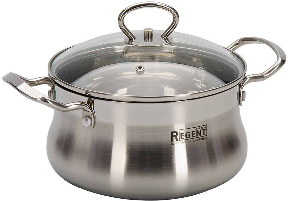 Кастрюля Regent Inox Bella с крышкой, 2,6 л93-BEv-03Посуда выполнена из высококачественной нержавеющей стали с многослойным капсулированным дном. Ручки крепятся методом клепки. Крышка из жароустойчивого стекла вплотную прилегает к изделию, максимально удерживая температуру, и помогают осуществлять контроль за готовностью при приготовлении блюда. Многослойное дно аккумулирует тепло, способствует быстрому и равномерному нагреванию еды, даже если мощность конфорок небольшая. Посуду можно мыть в посудомоечной машине.