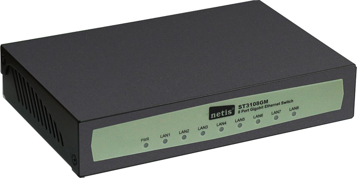 netis ST3108GM коммутаторST3108GMВ коммутаторе ST3108GM установлено 8 портов RJ45 (10/100/1000 Мбит/с) с функцией автосогласования. Все порты поддерживают функцию автоматического определения MDI/MDIX, что устраняется необходимость в соединительных кабелях и портах Uplink. Данный коммутатор — простое, экономичное и высокопроизводительное стандартное решение для модернизации имеющейся сети до уровня 1000 Мбит/с