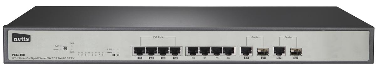netis PE310H коммутаторPE310HКоммутатор PE6310H Gigabit Ethernet SNMP PoE 8FE + 2 комбинированных порта — отличный выбор для расширения вашей домашней или офисной сети. Устройство полностью совместимо со стандартами Ethernet IEEE802.3/802.3u/802.3z. Коммутатор оснащен 8 портами RJ45 (10/100 Мбит/с) и 2 комбинированными SFP-слотами (10/100/1000 Мбит/с). Порты 1—4 поддерживают функцию питания через Ethernet (PoE). Они обеспечивают автоматическое распознавание и питание устройств, совместимых со стандартами IEEE 802.3at/af, таких как точки доступа PoE, IP-телефоны, IP-камеры и т. д. Поддерживаются, также, эффективные возможности управления, такие как 802.1p (QoS), DiffServ (QoS), IGMP Snooping, 802.1w (высокоскоростное связующее дерево), агрегирование каналов, 802.1q (VLAN), 802.1x и т. д Данный коммутатор идеально подходит для расширения сети