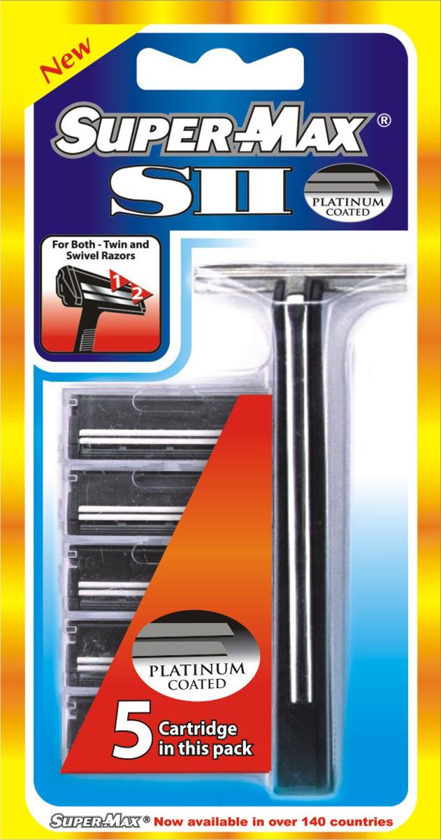Super-Max S2 Многоразовый станок + 5 сменных картриджей с двойным лезвием1534Super-Max S2 Многоразовый станок + 5 сменных картриджей с двойным лезвием