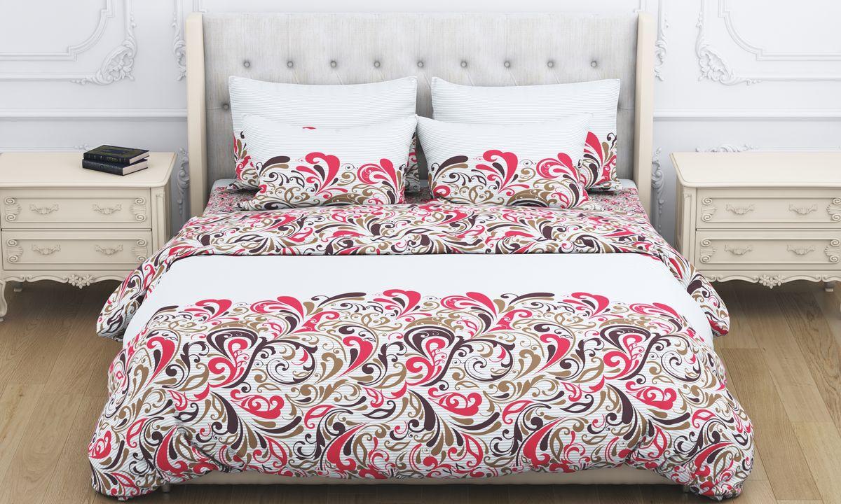 Комплект белья Amore Mio Fantasy, 2-спальный, наволочки 70x70, цвет: коричневый