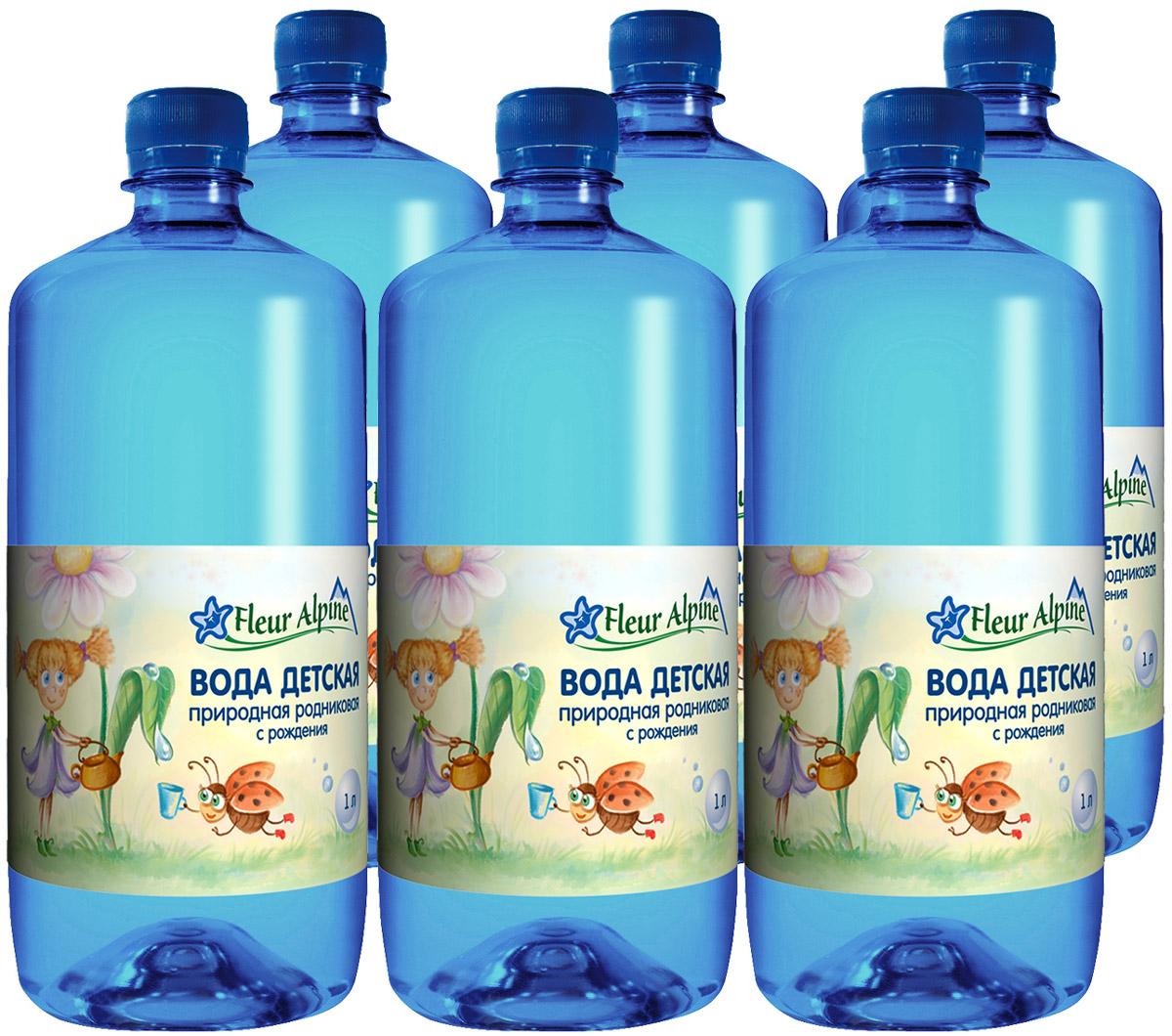 Fleur Alpine Вода детская питьевая с рождения, 6 шт по 1 л fleur alpine organic вода детская питьевая с рождения 0 25 л