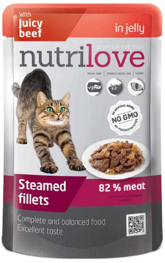 Корм консервированный Nutrilove для кошек, с говядиной в желе, 85 г корм консервированный мурчелло для кошек говядина по бургундски в желе с томатами 100 г