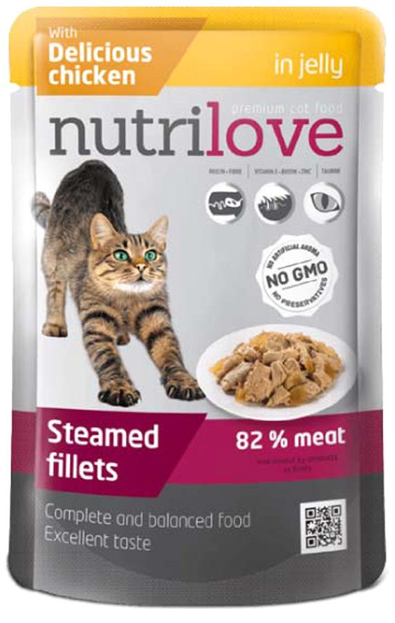 Корм консервированный Nutrilove для кошек, с курицей в желе, 85 г корм консервированный мурчелло для кошек говядина по бургундски в желе с томатами 100 г