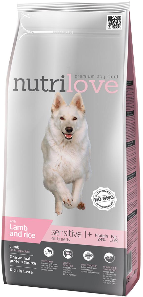 """Корм сухой Nutrilove """"Sensitive"""", для взрослых собак с чувствительным пищеварением, с ягненком и рисом, 3 кг"""