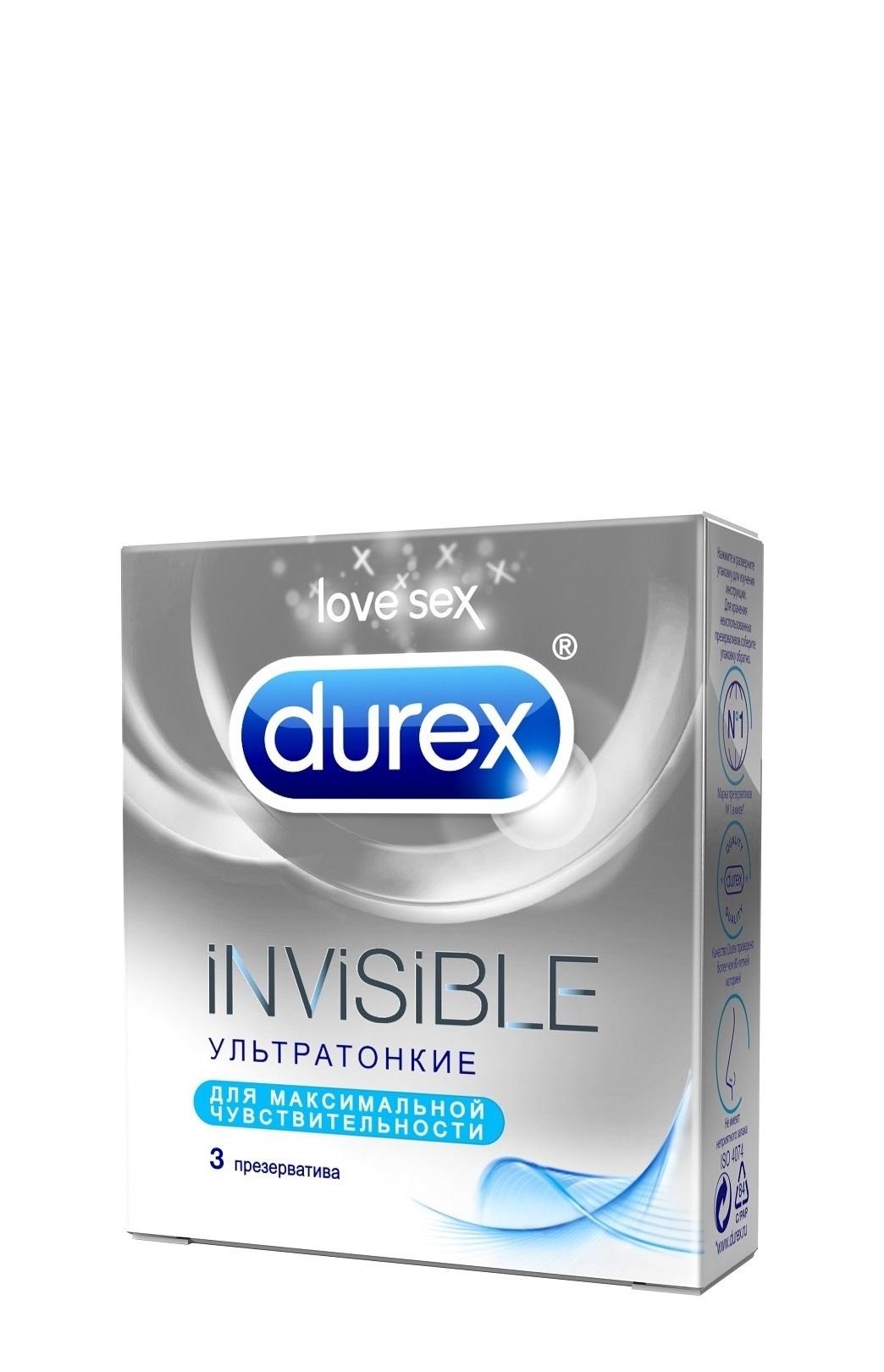Durex Invisible Презервативы ультратонкие для максимальной чувствительности, 3 шт я цинь в интимном уходе за кожей мокрой ткани 22 нетканого материалом для ухода за ткань салфетка средства алоэ пакета 10