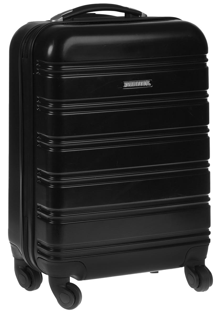 """Суперлегкий пластиковый чемодан """"Everluck"""". Материал ABS- пластик максимально устойчив к  деформации. Кроме того, он обладает повышенной гибкостью, что позволяет материалу не  ломаться и не трескаться при внешних нагрузках. Чемодан отлично подходит для перевозки  хрупких вещей. Пластик отлично защищает внутреннее содержание от любых внешних  воздействий.  Поликарбонат - это полимерный пластик. Обладает высокой прочностью, малым весом, устойчив к низким  температурам.  Чемодан с четырьмя колесами на основании, вращающимися на 360 градусов, маневренный и  удобный в обращении. Можно просто выдвинуть ручку и катить его рядом с собой в любом  направлении, при этом не будет никакой нагрузки на кисть, что очень важно, если чемодан у вас  большой и тяжелый.  Выдвижная ручка. Внутри: портплед, карман из сетки на  молнии, фиксатор с зажимом для ваших вещей. Дополнительный карман для вещей и карман- сетка, закрываются на молнию.  Также предусмотрен кодовый замок, который расположен с  внешней стороны боковой стенки.  Объем 53 л."""