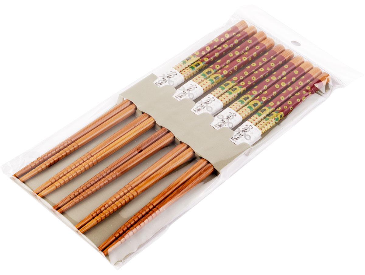 Набор, выполненный из бамбука, идеален в качестве подарка любителям восточной кухни. В комплекте 5 наборов палочек. Данный набор идеально подойдет для грамотной и красивой сервировки стола.