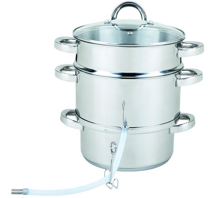 Соковарка изготовлена из высококачественной нержавеющей стали 18/10. Трехслойное  капсульное дно гарантирует быстрое и равномерное распределение тепла.  Ненагревающиеся полые ручки. Стеклянная крышка. Подходит для любых плит.  Можно использоваться в качестве пароварки или дуршлага. Комплектация: Кастрюля для воды - 4,7 л;  Кастрюля для сбора сока - 3 л  Паровая корзина - 8,2 л Крышка из стекла; Трубка резиновая отводная; Зажим.