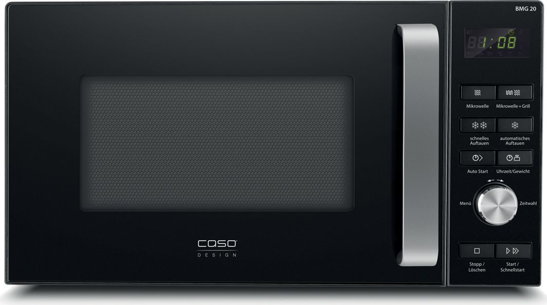 CASO BMG 20, Black микроволновая печь00-00001544Объём 20 литровЦифровое управление Корпус чёрного цвета Алюминиевая ручка Внутренняя камера серого цвета 9 автоматических программ Таймер 95 минут 6 ступеней микроволн Поворотная тарелка диаметром 24,5 см Мощность микроволн: 800 Вт Мощность гриля: 1000 Вт Габариты: 46 x 26 x 36 см Вес: 11,15 кг