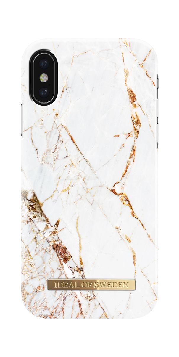 iDeal чехол для Apple iPhone X, Carrara GoldIDFCA16-I8-46Клип-кейс iDeal – это модный аксессуар, стильное и оригинальное украшение, имеющее яркий дизайн, насыщенные цвета и необычный узор, в сочетании с высокой степенью защиты мобильного устройства, сохраняет привлекательный внешний вид и подчеркивает индивидуальный стиль, а также изысканный вкус владельца.Чехол-накладка iDeal - это надежная защита корпуса смартфона от царапин и внешних воздействий. Конструкция чехла обеспечивает его надежное крепление на корпусе мобильного устройства.Специальные вырезы обеспечивают свободный доступ к разъемам и элементам управления, а также позволяют в любой удобный момент вести фото- и видеосъемку. Устойчивый к истиранию пластик клип-кейса надолго сохраняет привлекательный внешний вид и не теряет насыщенность цветов. Аксессуар выполнен из пластика, который имеет среднюю степень жесткости.Изнутри накладка покрыта замшей, чтобы обеспечить корпусу смартфона дополнительную защиту от царапин.