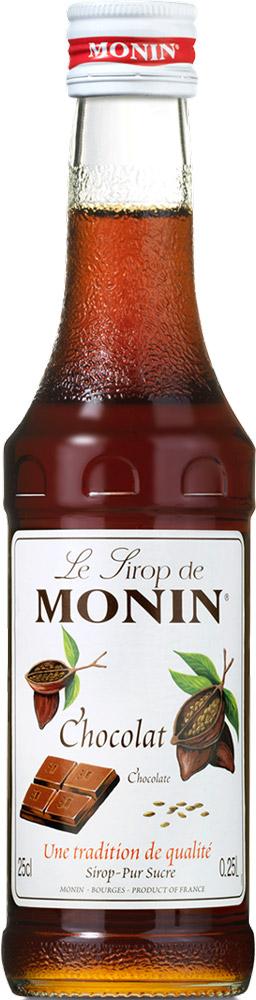 Monin Шоколад сироп, 250 млSMONN0-000106Сиропы Monin выпускает одноименная французская марка, которая известна как лидирующий производитель алкогольных и безалкогольных сиропов в мире. В 1912 году во французском городке Бурже девятнадцатилетний предприниматель Джордж Монин основал собственную компанию, которая специализировалась на производстве вин, ликеров и сиропов. Место для завода было выбрано не случайно: город Бурже находился в непосредственной близости от крупных сельскохозяйственных районов - главных поставщиков свежих ягод и фруктов. Производство сиропов стало ключевым направлением деятельности компании Monin только в 1945 году, когда пост главы предприятия занял потомок основателя - Пол Монин. Именно под его руководством ассортимент марки пополнился разнообразными сиропами из натуральных ингредиентов, которые молниеносно заслужили блестящую репутацию в кругу поклонников кофейных напитков и коктейлей. По сей день высокое качество остается базовым принципом деятельности французской марки. Сиропы Монин создаются исключительно из натуральных ингредиентов по уникальным технологиям, позволяющим сохранять в готовом продукте все полезные свойства природного сырья.Эксперты всего мира сходятся во мнении, что сиропы Monin - это законодатели мод в миксологии. Ассортимент французской марки на сегодняшний день является самым широким и насчитывает полторы сотни уникальных вкусовых решений. В каталоге компании можно найти как классические вкусы для кофейных напитков (шоколадный, ванильный, ореховый и другие сиропы), так и весьма экзотические варианты (сиропы со вкусом кокоса, зеленой мяты, тирамису, блю курасао, аниса, грейпфрута, пина колады и т. д.) Отметим, что все сиропы обладают мягкими, деликатными вкусороароматическими характеристиками, что говорит о натуральном составе продуктов.Описание:Происхождение шоколада простирается по крайней мере на четыре тысячи лет. Древнее население Центральной Америки использовало какао-бобы, чтобы сделать горячий, пенистый и горький 
