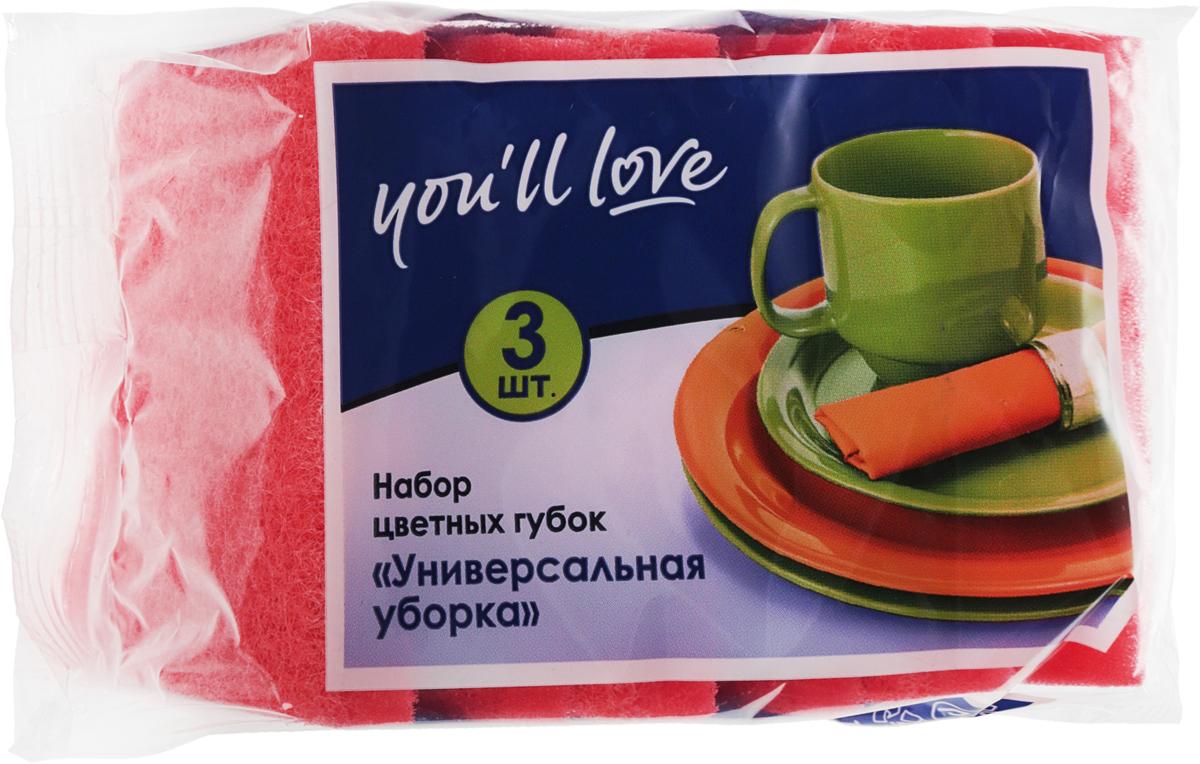 Набор губок для мытья посуды Youll love Универсальная уборка, цвет: розовый, 3 шт66617_оранжевый, красныйГубки Youll love Универсальная уборка выполнены из поролона и оснащены абразивным слоем. Мягкий слой используется для деликатной чистки, жесткий абразивный - для сильных загрязнений. Специальная форма губки обеспечивает комфорт во время использования. Абразивный слой не рекомендуется применять для деликатных поверхностей и посуды с тефлоновым покрытием. Размер губки: 8,5 х 6,5 х 3,6 см.