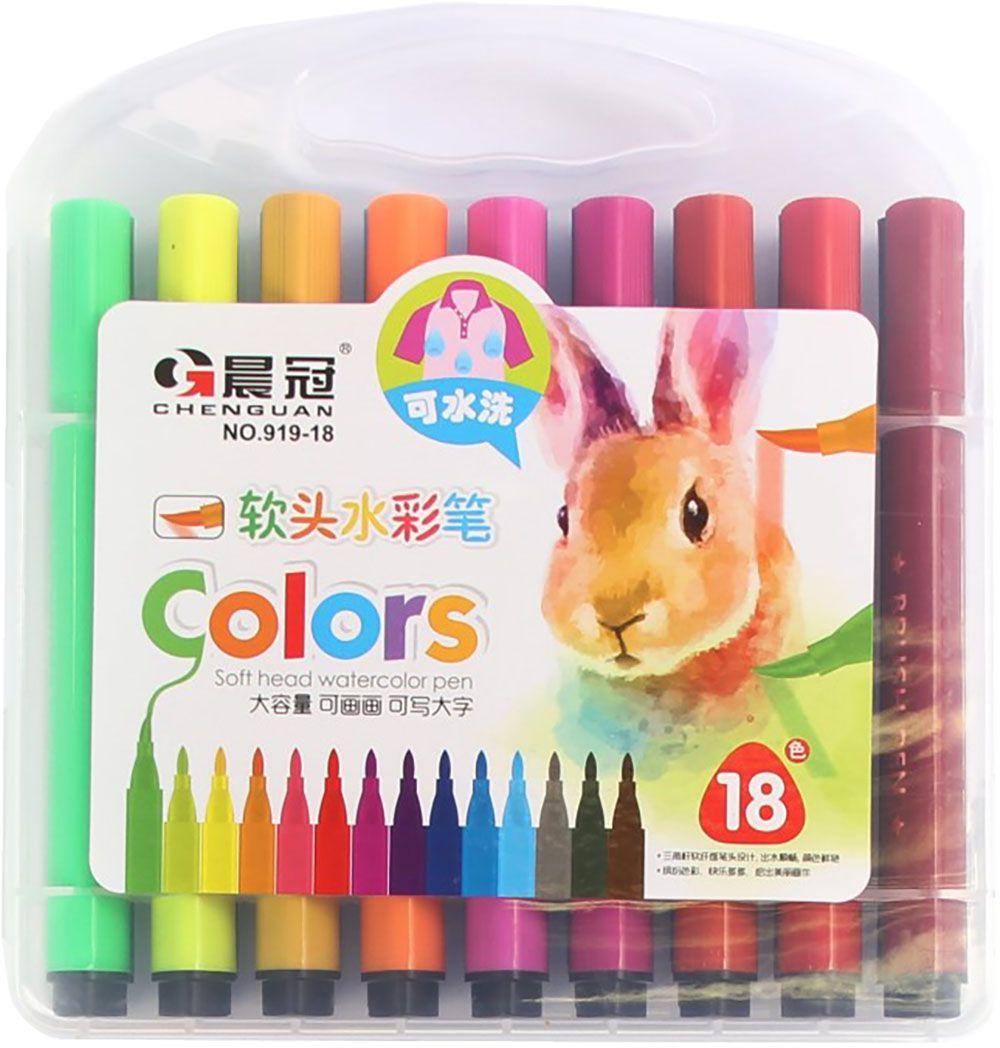 Набор фломастеров 18 цветов 28704872870487Почему дети так любят рисовать фломастерами? Юных художников прельщает не только бесконечная тяга к творчеству, но также практичность и эргономичность при использовании пишущих инструментов.В отличие от карандашей, фломастеры не нуждаются в заточке и не требуют усилий для создания ярких линий. Перед красками у них преимущество в том, что изображения сразу получаются чёткими, а насыщенность цвета нисколько не уступает гуаши.Простота, в мгновение ока создающая красоту, — вот что по-настоящему привлекает маленьких творцов!Как выбрать подходящий фломастер? Необходимо учитывать сразу несколько аспектов: тип чернил (водная или спиртовая основа), вид наконечника (пластик или синтетические волокна, толстый или тонкий), тип корпуса (полистирол или полипропилен) и даже колпачок (крупный или мелкий).Фломастеры— это превосходный выбор для создания мини-шедевров с мини-затратами. Высококачественное изделие направит весь творческий потенциал ребёнка в нужное русло.