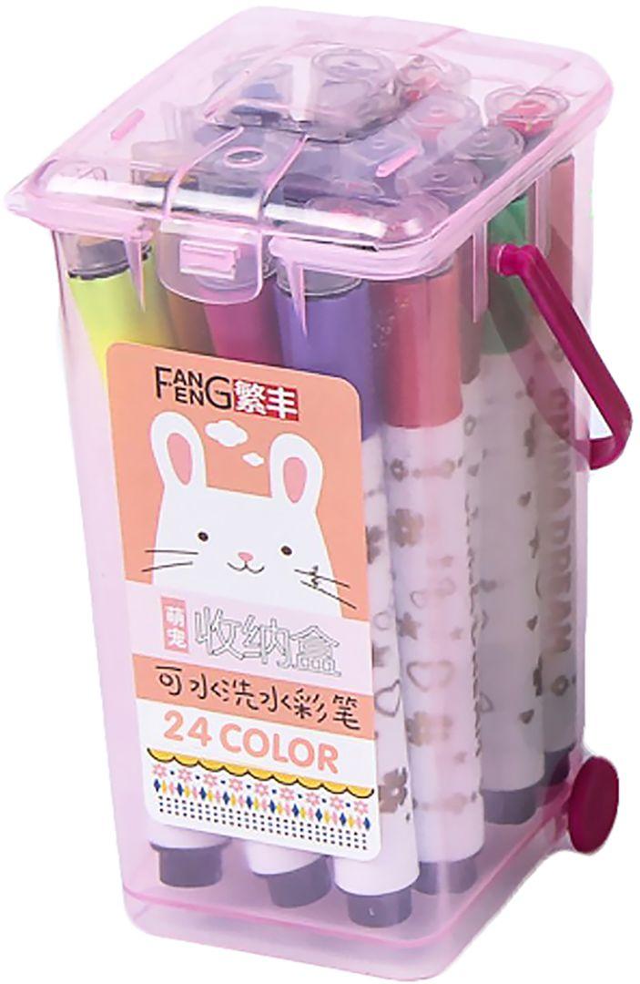 Набор фломастеров Полоски цвет упаковки розовый 24 шт 2864405 -  Фломастеры