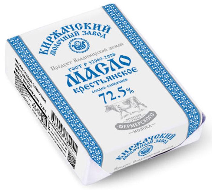 Киржачский МЗ Масло Крестьянское Кольчугинское ГОСТ, 72,5%, сладко-сливочное, 180 г киржачский мз йогурт клубника земляника слоеный 130 г