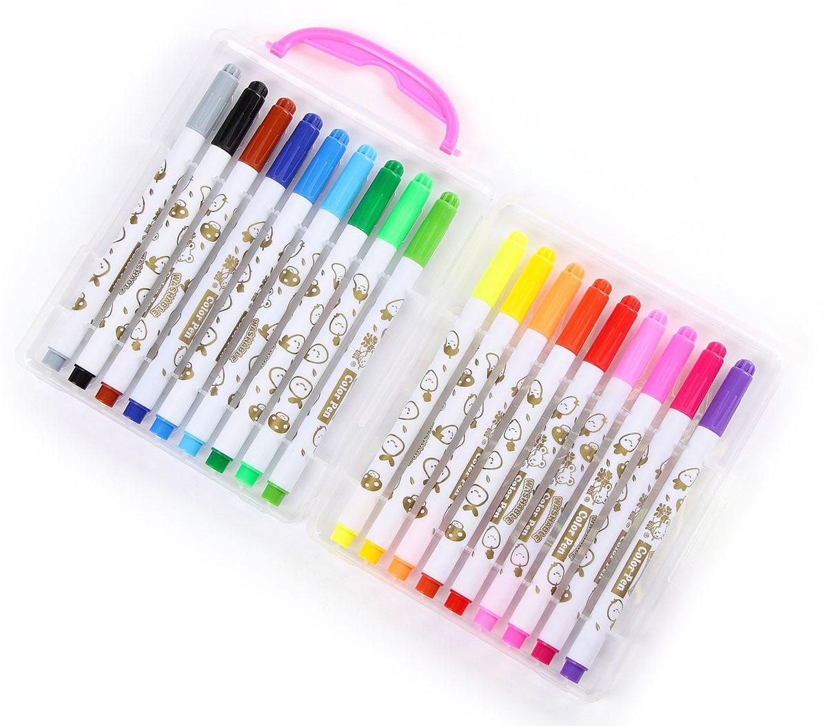 Набор фломастеров Мышка цвет упаковки розовый 18 цветов 24121522412152Почему дети так любят рисовать фломастерами? Юных художников прельщает не только бесконечная тяга к творчеству, но также практичность и эргономичность при использовании пишущих инструментов.В отличие от карандашей, фломастеры не нуждаются в заточке и не требуют усилий для создания ярких линий. Перед красками у них преимущество в том, что изображения сразу получаются чёткими, а насыщенность цвета нисколько не уступает гуаши.Простота, в мгновение ока создающая красоту, — вот что по-настоящему привлекает маленьких творцов!Как выбрать подходящий фломастер? Необходимо учитывать сразу несколько аспектов: тип чернил (водная или спиртовая основа), вид наконечника (пластик или синтетические волокна, толстый или тонкий), тип корпуса (полистирол или полипропилен) и даже колпачок (крупный или мелкий).Фломастеры— это превосходный выбор для создания мини-шедевров с мини-затратами. Высококачественное изделие направит весь творческий потенциал ребёнка в нужное русло.
