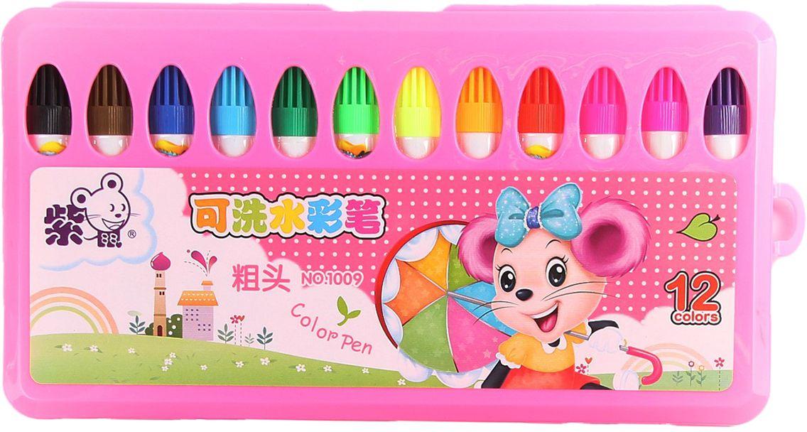 Набор фломастеров Мини цвет упаковки розовый 12 шт -  Фломастеры