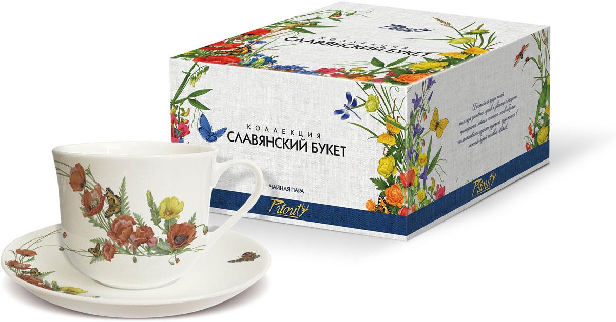 Чайная пара PrioritY Славянский букет. Маки, 480 мл, 2 предмета